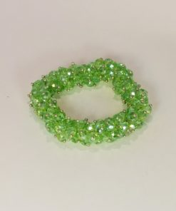 Green Swaroski Elements Glass Bead Stretch Bracelet