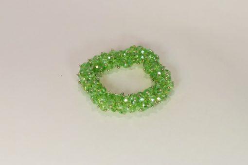 Green Swaroski Elements Glass Bead Stretch Bracelet