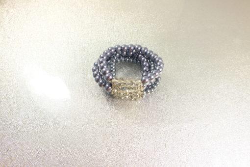 Multi Strand Black Bead  Stretch  Bracelet