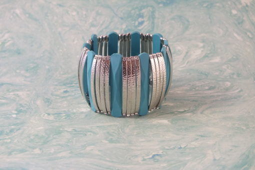 Bluish Dimpled Metal Stretch Bracelet