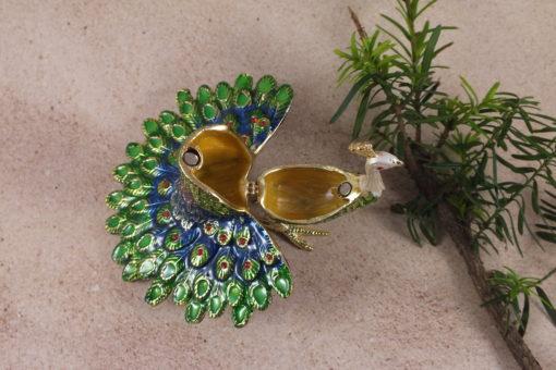 Peacock Bejewelled Trinket Box