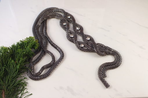 Slithery Gunmetal Flapper Necklace With Rhinestones