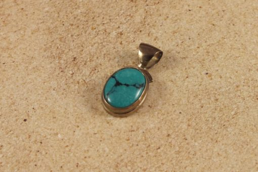 Genuine Turqouise Green Small Oval Pendant