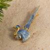 Blue Tall Winged Bird Brooch