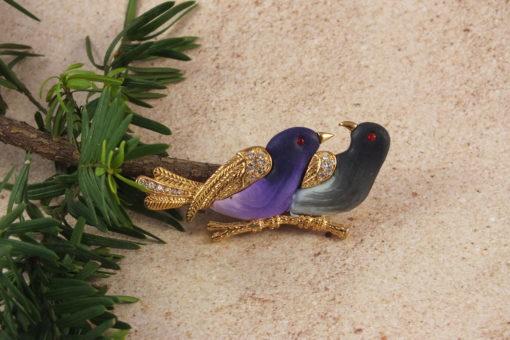 Love Birds On Branch Brooch