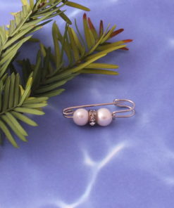 Two Small Genuine Pearls Safety Pin Brooch