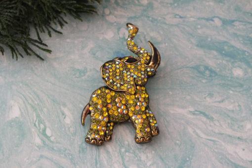 Rhinestone Elephant With Brooch