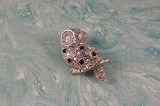 Silvertone Owl Brooch