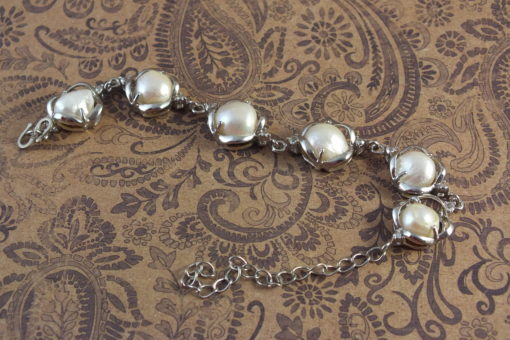 Genuine White Pearls in Silver Link   Bracelet