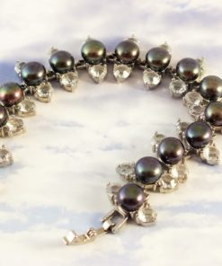 Genuine Black Pearls Flanked with Genuine Swarovski Crystals Bracelet