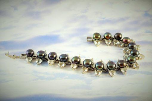 Genuine Black Pearls Flanked with Genuine Swarovski Crystals Bracelet