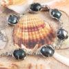 Genuine Black Pearls in Silver Link   Bracelet
