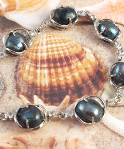 Genuine Black Pearls in Silver Link   Bracelet