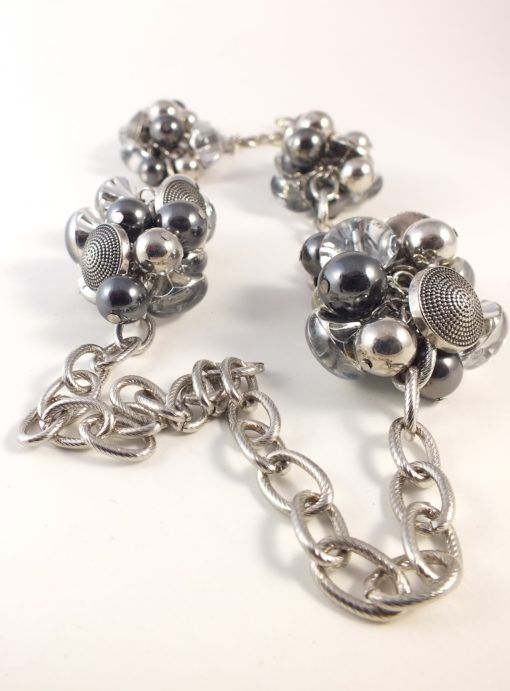 Silver Long 4 Clustered Chunky Necklace