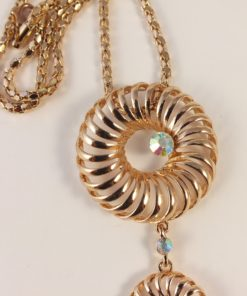 Goldish 2 circle Pendant with Long drop with Crystals